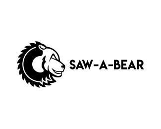 Логотип для лесопилки медведь пила