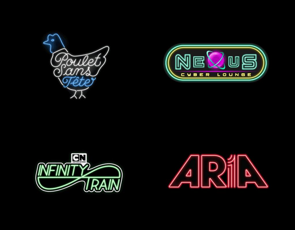 Тренд в дизайне логотипах в 2020 году - неоновые лого