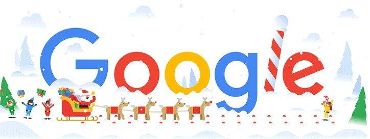 новогодний логотип google 2018
