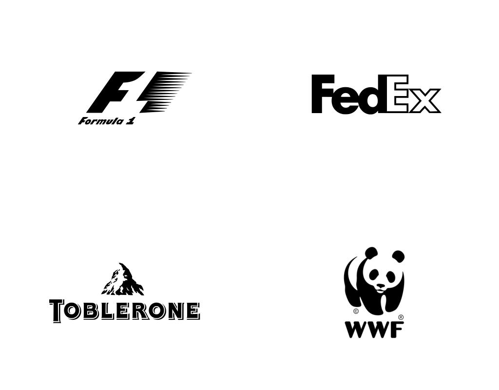 Известные логотипы с игрой контрформы в монохроме